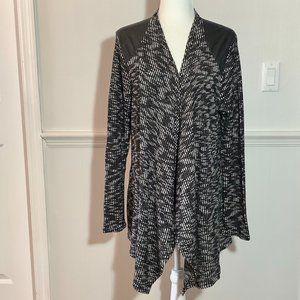 Black White Sweater Wrap Jacket  1X Long Sleeve